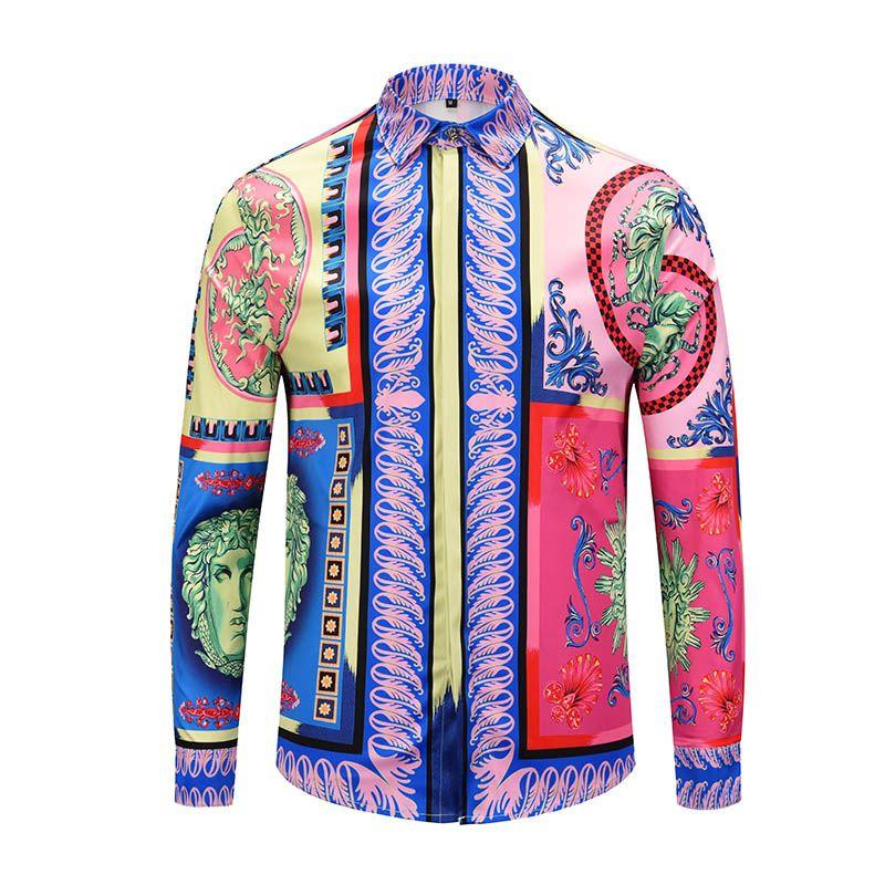 2019 neue langärmelige Männer Casual Shirts Farbe 3D gedruckt Herren Kleid Hemden Slim Fit Medusa Seide Baumwolle Shirts
