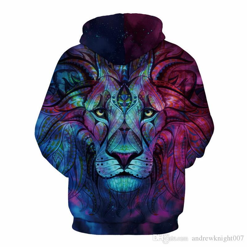 Новая мода Мужчины / Женщины 3d кофты печати Пейсли молния Лев толстовки Осень Зима тонкий с капюшоном пуловеры топы