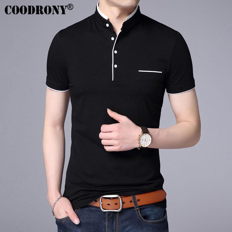 일반 코튼 만다린 칼라 짧은 소매 티 셔츠 남성 봄 여름 새로운 최고 남성 브랜드 의류 슬림핏 코튼 티셔츠