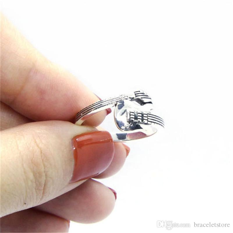 hot!! Free Shipping Size 6-10 Lady Girls 925 Sterling Silver Ring Jewelry Newest S925 Top Quality Music Guitar Ring