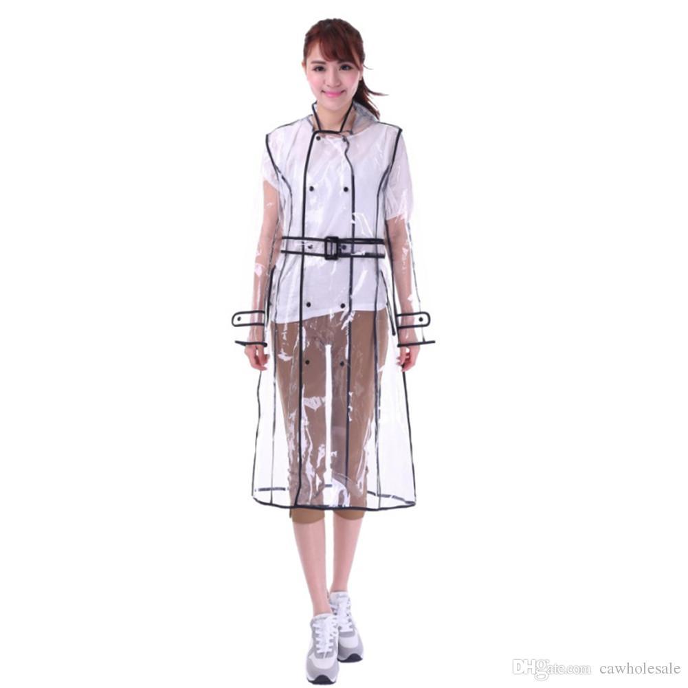 EVA Transparent Adult Raincoat Long Raincoat for Women Waterproof Jacket Windbreaker Rain Poncho Outdoors BLACK COLOR