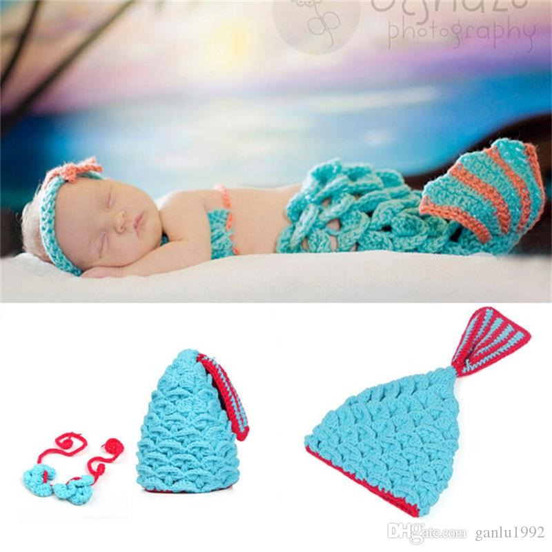 Newborn Baby Hat Mermaid Photography Props Design Cap Elasticity Knitted Costume Crochet Kids Clothing Two Pcs Set 13dh WW