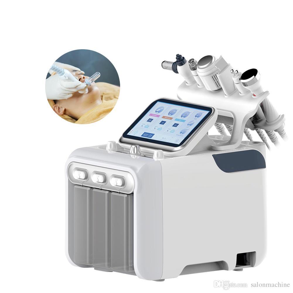 Nuevo 6 en 1 Aqua Hydra Facial Water Dermabrasion H2 O2 Spray de oxígeno con RF Bio Lifting Spa Máquina facial de limpieza profunda de la piel