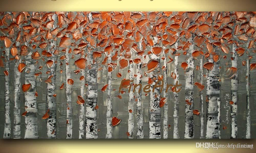 hand-painted on canvas modern abstract heavy texture of palette knife tree painting wall decoration oil painting wall unique gifts Kungfu A