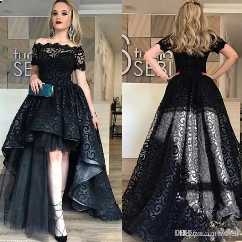 Элегантное черное кружевное платье с короткими рукавами Вечерние платья высокого качества для вечеринок на заказ