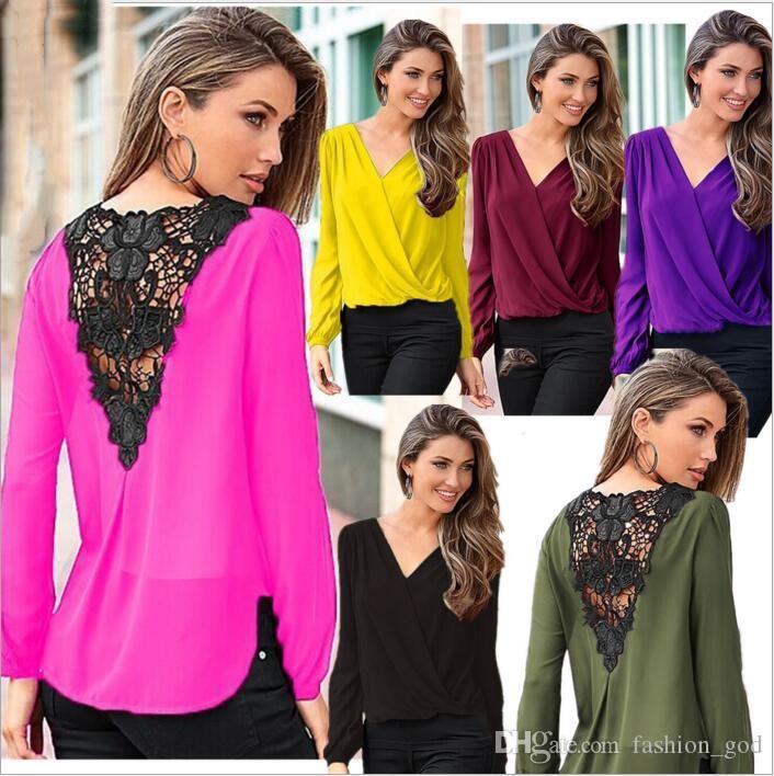 Camiseta de las mujeres camisas de gasa de encaje de moda tapas sólidas de manga larga blusa suelta camisetas ocasionales de europa america sexy blusas mujeres clothing 3718