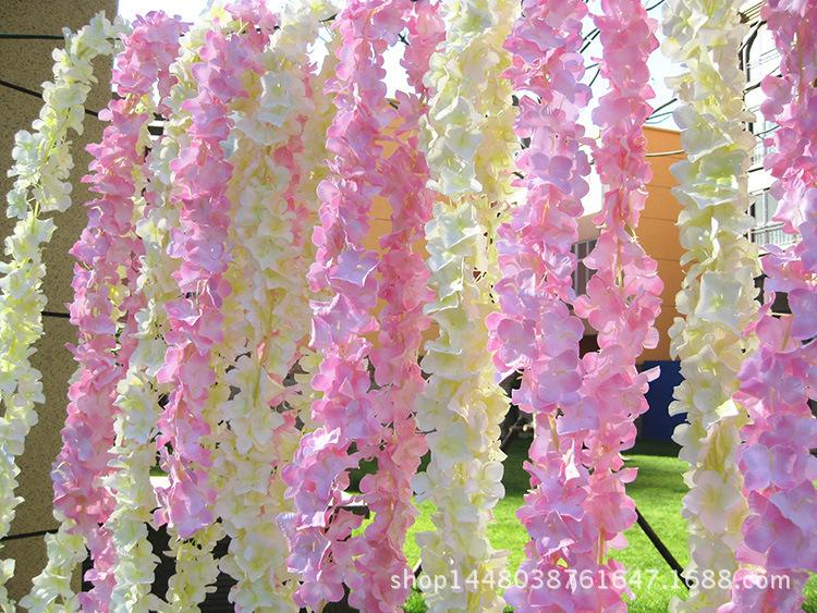 Artificial Flower Wisteria Hydrangea Flower string Wedding Flowers wall background Decoration home hanging accessories fake flowers garland
