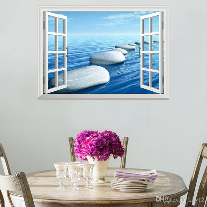 3D Ocean Scenery Ship Room Home Decor Removable Wall Stickers Decals Decoration