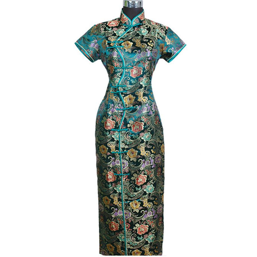 녹색 봄 가을 중국 여성 새틴 롱 홀스터 Cheongsam Qipao 우아한 드레스 꽃 SML XL XXL XXXL