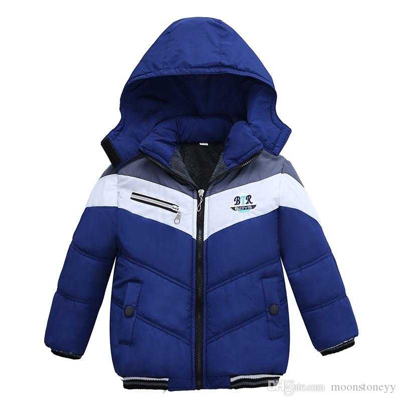 New Fashion Patchwork Boys Jacket&Outwear Warm hooded Winter jackets for boy coat Children Winter Clothing