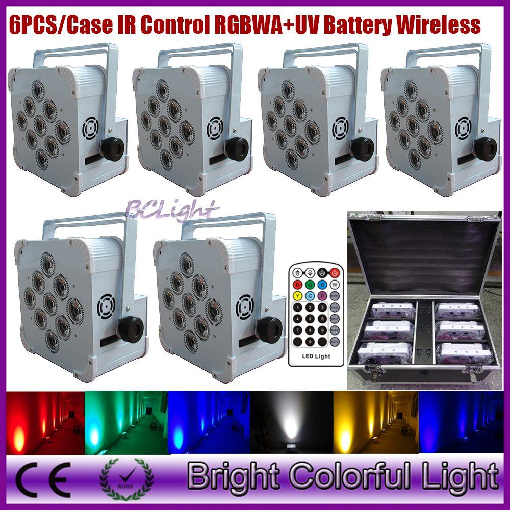 6PCS/Case IRC rechargeable battery wireless led slim par light RGBWA UV battery led dmx lights for wedding DJ Party up lights