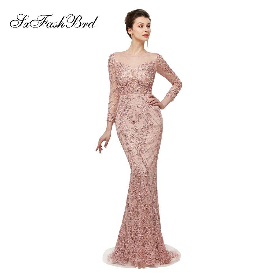 Occasion spéciale élégante robe o cou manches longues sirène avec perles longueur au sol longue soirée robes de soirée formelles femmes robe de bal