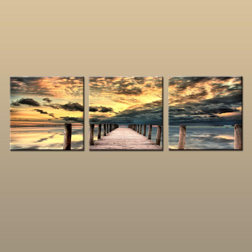 Framed/Unframed Hot Modern Contemporary Canvas Wall Art Print Painting Sunset Seascape Beach Dock Picture Living Room Home 3 piece Decor 236