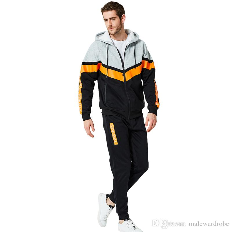 Tute sportive da uomo in esecuzione da atletica 2 pezzi completi di abbigliamento con cappuccio e cerniera giacche da uomo