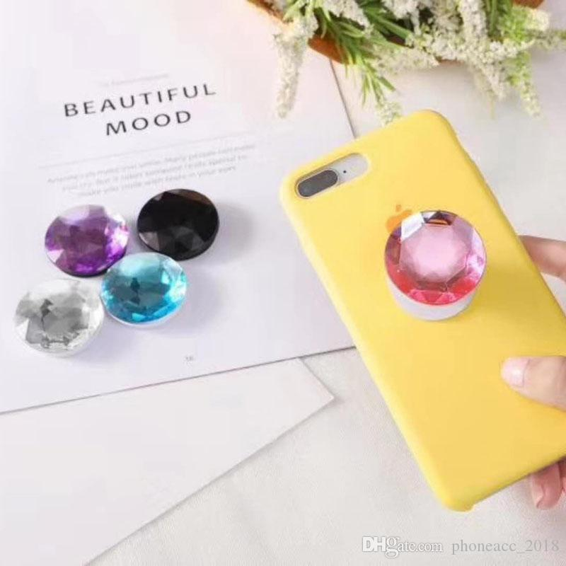 Gemstone Phone Holders Expanding Holder Stand Grip Clip Ring for SmartPhone Air Bag Cell Phone Bracket With Retail Package
