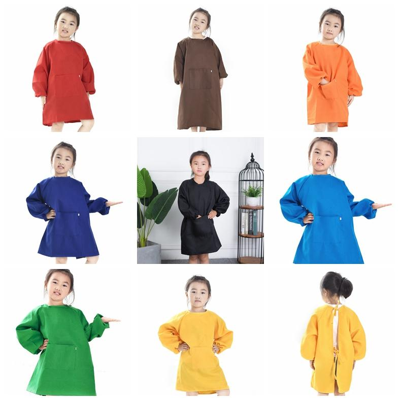 8colors 어린이 앞치마 턱시도 복장 복장 아기 방수 긴 소매 작업복 아이 식사 그림 잿빛 옷감 GGA736