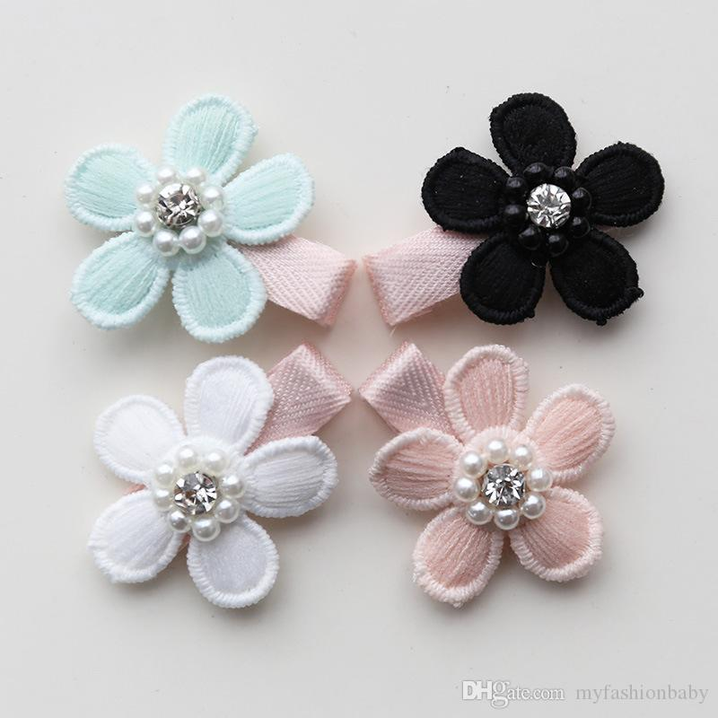20pcs/lot Baby Flower Clips Five Leaves Floral Hair Clips Bestseller Kids Pink Barrette Lovely Crystal Pearls Hairpin Small Size Clip