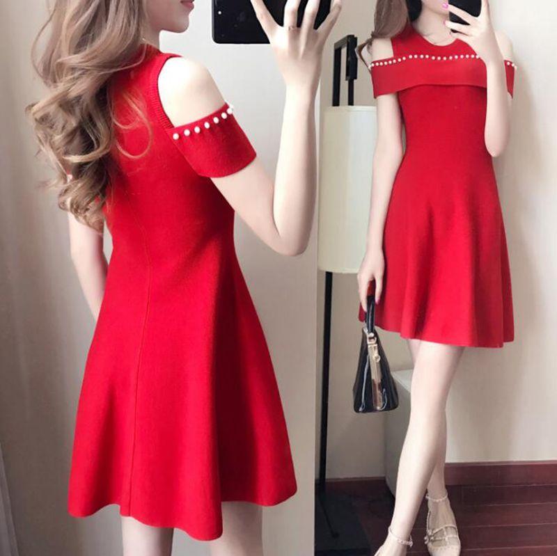 Plus Size Solid A-Line Robe Maxi Nowa Koreańska Moda Temperament Slim Krótki Rękaw Mini Dress V-Neck Of The Ramię