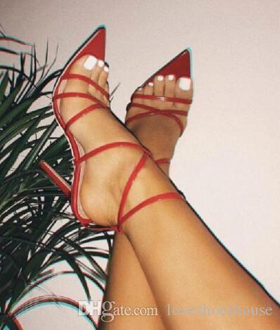 Sexy Correa Cruzada Tacones Delgados Estilete Zapatos de Mujer Zapatos de Vestir Fiesta de Boda Zapatos Mujer Verano Sapatos Femininos Mujeres