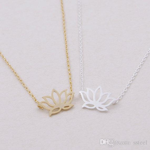 30pcs Gold/Silver Plant Lotus Necklace Tiny Lotus Flower Necklace Petal Bloom Blossom Necklace Jewelry for Lady Women