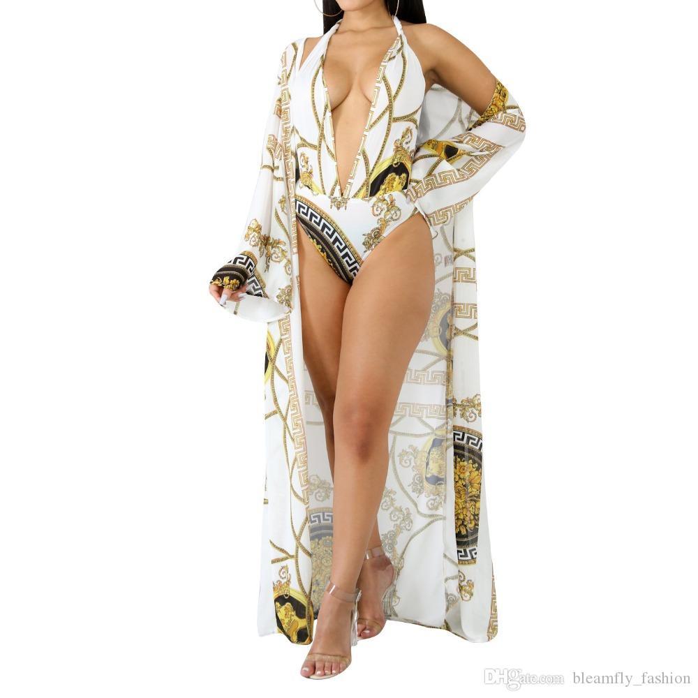 2018 Yaz Boho Baskı 2 adet Tulum Tulum Kadınlar Vintage Zarif Bodycon Bodysuits Bayanlar Seksi Plaj Kıyafeti Rahat Tulum