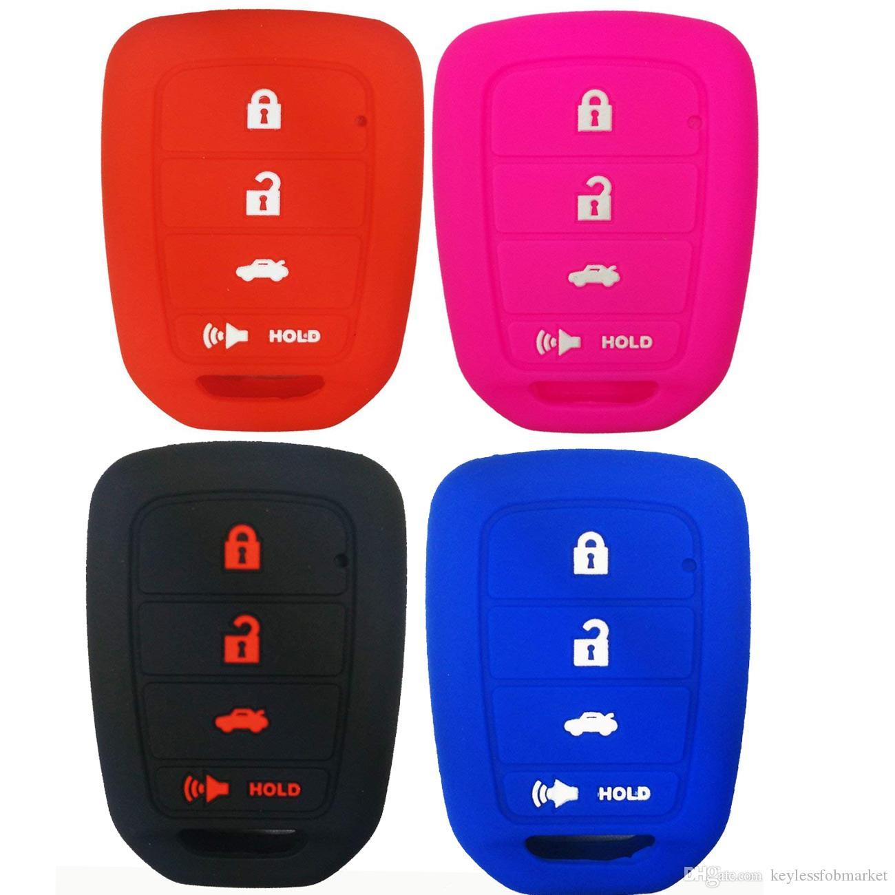 4 Buttons Silicone Car Key Cover Case Holder Shell FOR HONDA CR-V ACCORD CIVIC CRV JAZZ HR-V 2014 2015 2016 REMOTE KEY Protector