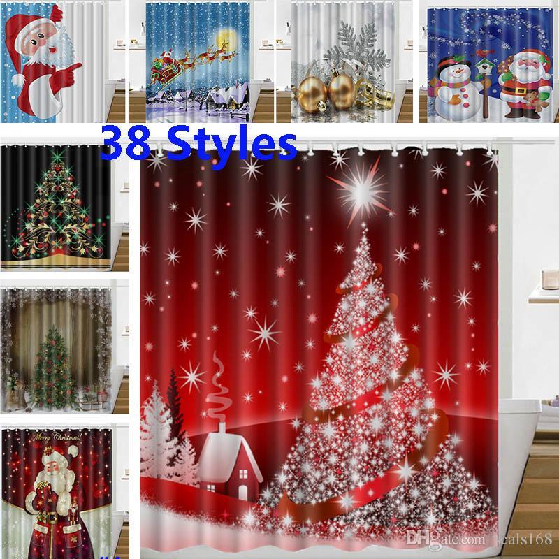 크리스마스 샤워 커튼 산타 클로스, 눈사람 순록 방수 3D 인쇄 욕실 샤워 커튼 장식과 함께 후크 165 * 180cm HH7-230