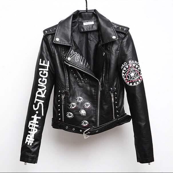 2018 autumn PU leather ladies jacket graffiti zipper lapels black motorcycle motorcycle leather punk letter personality jacke