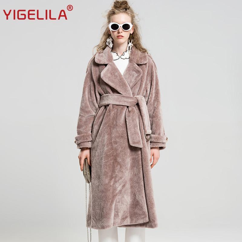 YIGELILA 9512 Dernière Mode Hiver Rose Turn Down Col Robe Style Large Taille Ceinture Long Artificielle En Laine De Fourrure Trench Coat