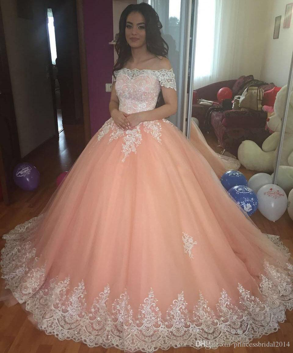 Zyllgf Blush Pink Ball Gown Quinceanera Dresses Bateau Neck Short Sleeves Appliques Tulle Plus Size Sweet 16 Dresses Saudi Arabic Prom Dress