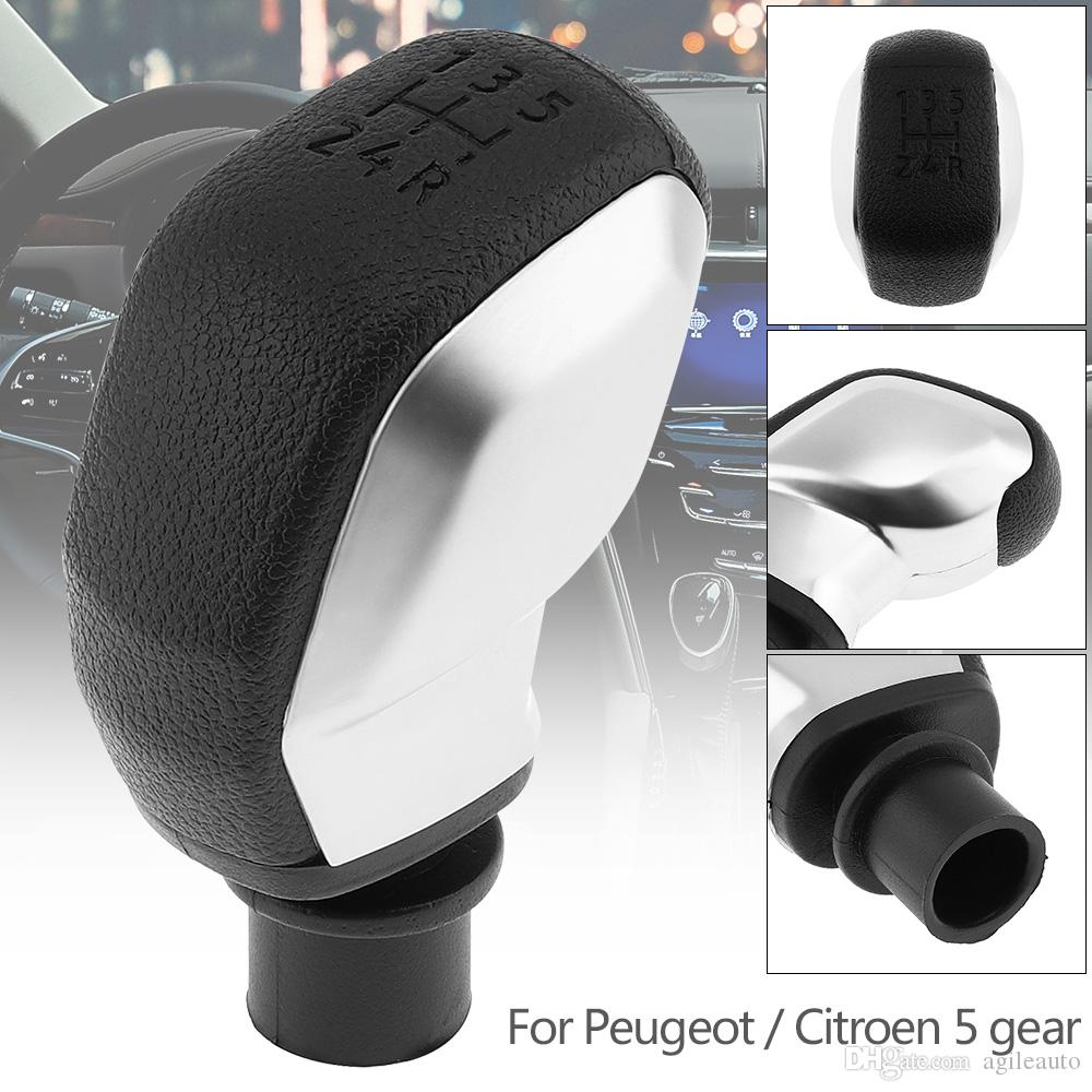 ABS Plastic Black + Silver Manual Transmission Gear Shift Handball Knob for CITROEN C2 C3 C4 Series / PEUGEOT 5 Gear Models CIA_30S