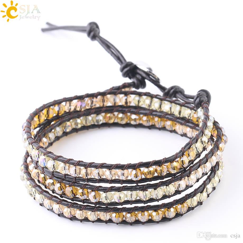 CSJA Genuine Leather Wrap Bracelet for Women Handmade Fashion Jewelry Glass Crystal Long Beaded Bracelets Mixed Colors Wholesale S185