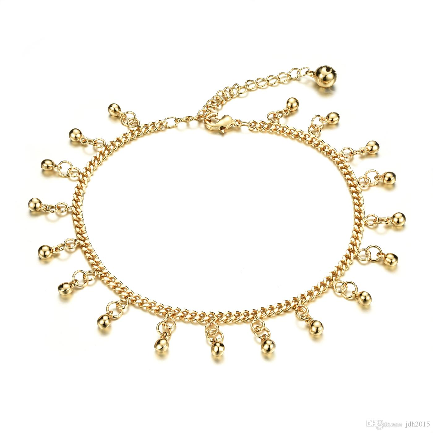 Gold-Toned Gypsy Bohemian Belly Dance Beads Tassel Chain Anklet