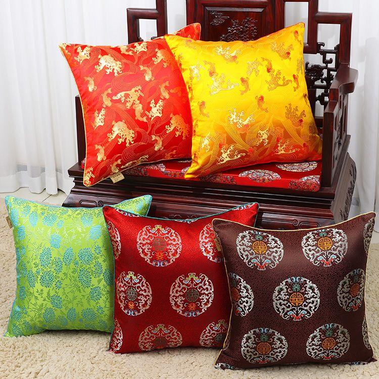 Chinois koi marguerite dragon soie satin Coussin couverture Canapé Chaise voiture Coussin bureau décoratifs pour la maison des animaux Taie 40x40cm 60x60cm