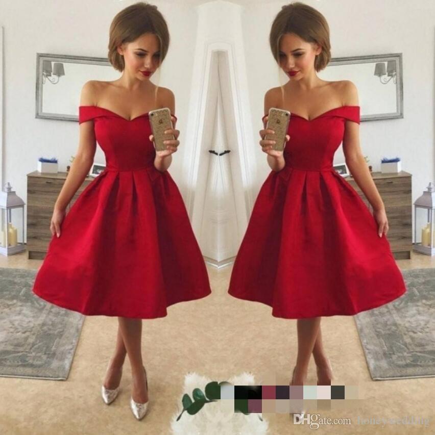 Короткие красные платья выпускного вечера 2018. плеча Homecoming платье Простой Формальное коктейль платье партии обычай делать