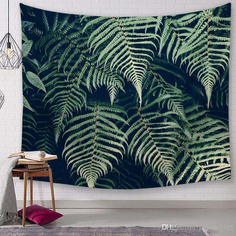 Planta verde hoja hojas tapiz primavera verano arte de la pared mural decoración helecho tropical colgando alfombra casa salón decoración