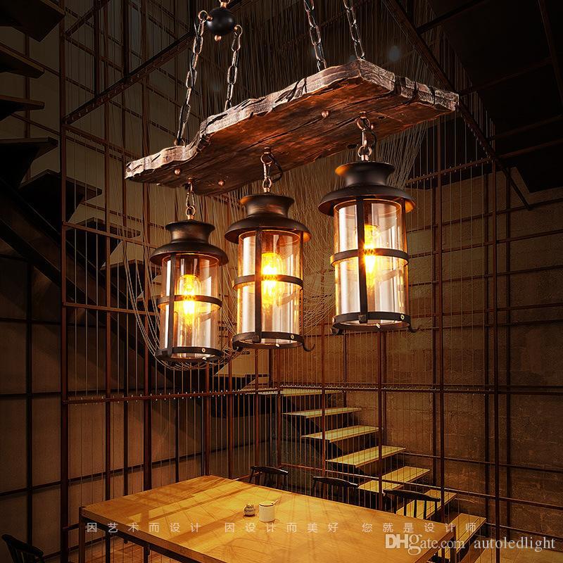 وودي الصناعية الحديد المطاوع قلادة ضوء الثريا شنقا مصباح سيلينج أضواء تركيبات قفص معدني مع زجاج الظل ل شريط داخلي
