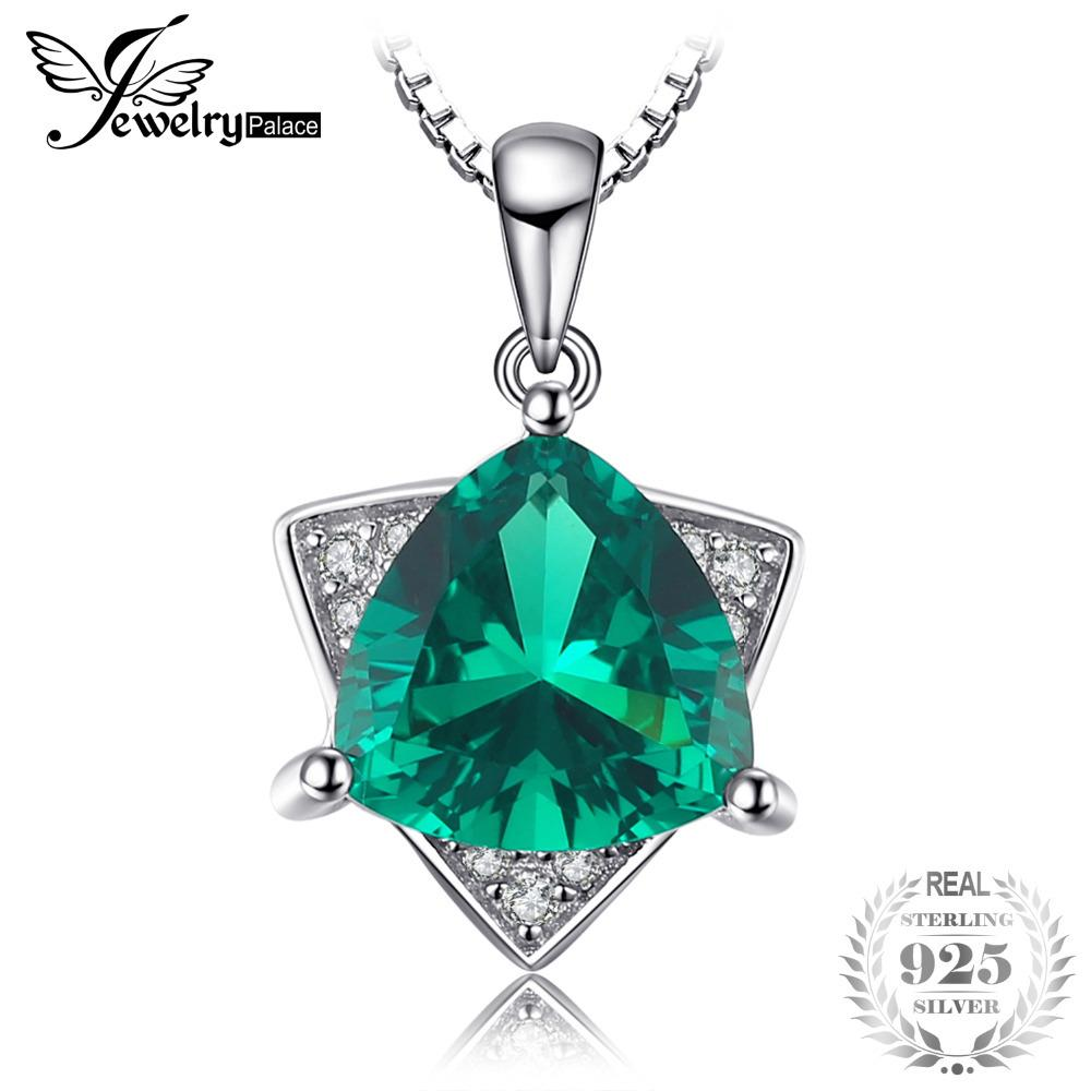 JewelryPalace Triangle Shape 1.68ct Created Emerald Necklace & Pendant 925 Sterling Silver With 45cm Chain For Women Jewelry Y1892806
