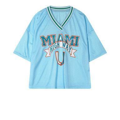 Harajuku Örgü Üst Kadın Mektubu Baskı Için Gevşek V Boyun Mesh Tshirt Spor Gömlek Amigo Kısa Tarzı T Gömlek Giymek