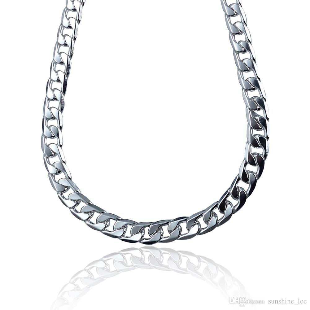 Hot Fashion Men's Necklaces 925 Silver 12MM Curb Chain Necklace Cool Men Jewelry High Quality 5 Sizes