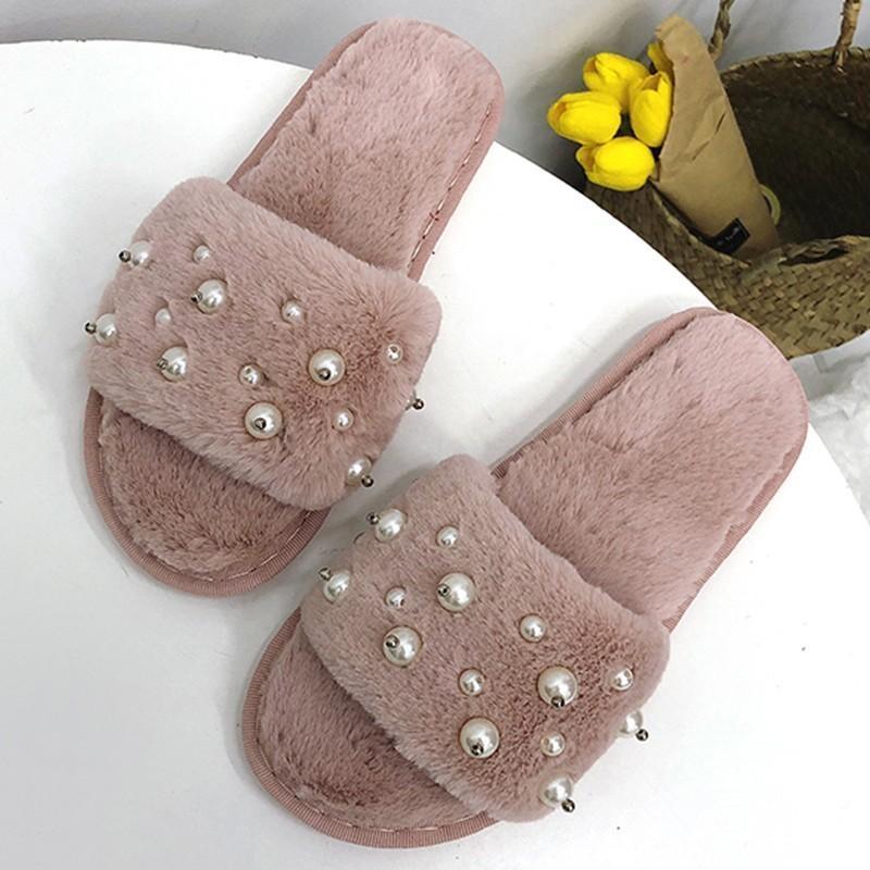Große Größe 36-41 Pelz Hausschuhe Frauen Hause Flauschige Sliders Federn Pelzigen Herbst Winter Wohnungen Süße Damen Schuhe Komfort