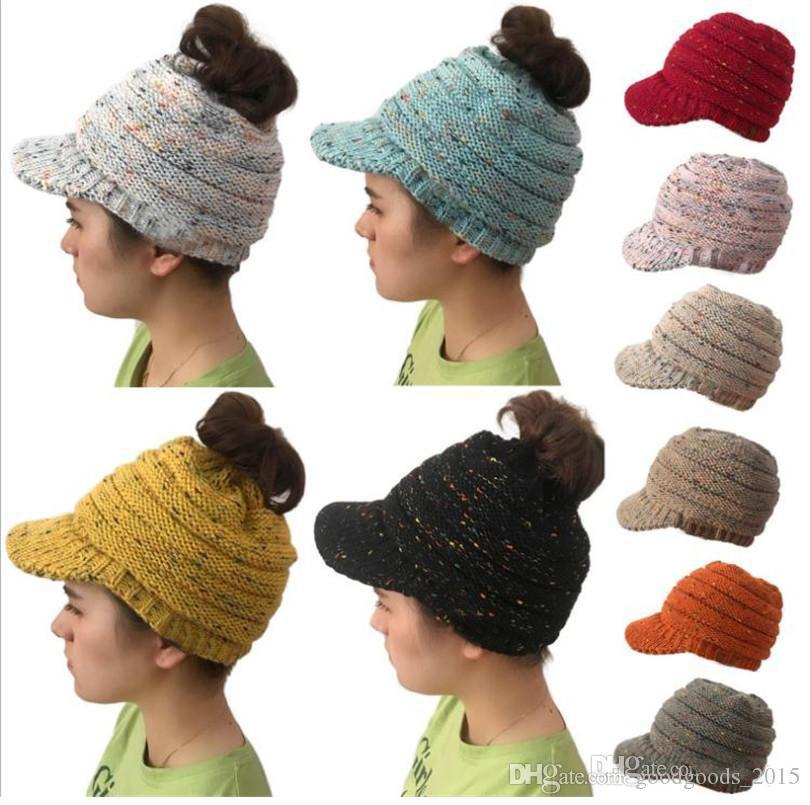 2018 New Women Hat Winter Ponytail Lady Hat Winter Warm Knitting Crochet Fashion Baseball Hat 10 Color TO743