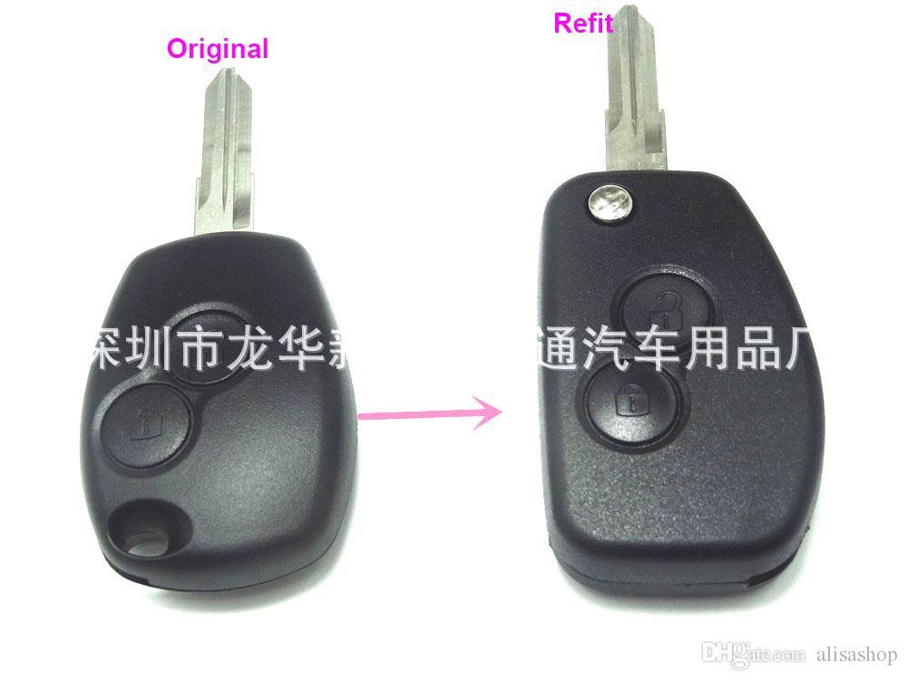 2Button Modified Flip Key Case для Renault Dacia Modus Duster Clio Espace складной удаленный автомобильный ключ FOB Shell с ключом