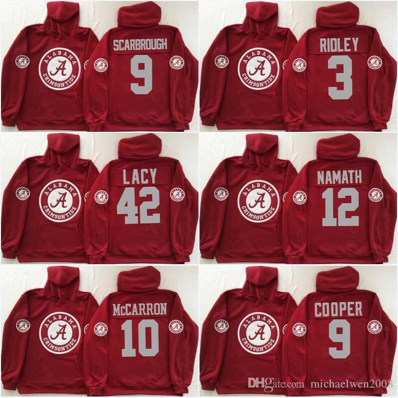 Men Alabama Crimson Tide Coollege Jersey 2 Jalen Hurts 9 Bo Scarbrough 3 Ridley 10 A.J McCarron 12 Joe Namath Jerseys Hoodies Sweatshirts
