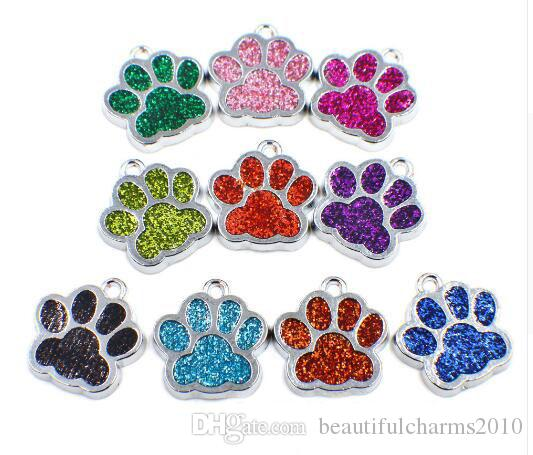 Wholesale 50pcs/lot Bling dog / bear paw print hang pendant charms fit for diy keychains necklace fashion jewelrys