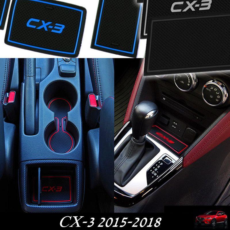 MAZDA CX-3 2015-2018 자동차 컵 매트 패드에 대 한 자동차 액세서리 게이트 슬롯 패드 도어 패드 CX-3에 대 한 빛이없는 미끄럼 인테리어 도어 그루브 매트