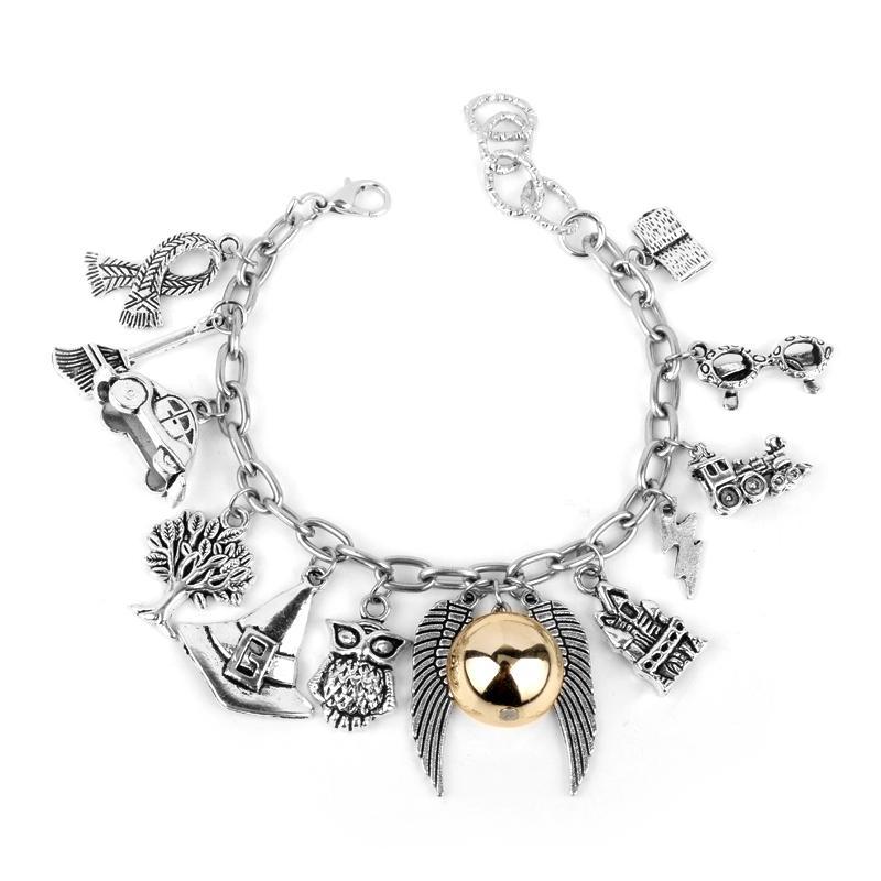 MQCHUN Bijoux de film de mode de Poudlard triant le chapeau Quidditch Snitch Golden Snitch Hedwig Harry écharpe Perles de Cristal Wristlet Bangles-25
