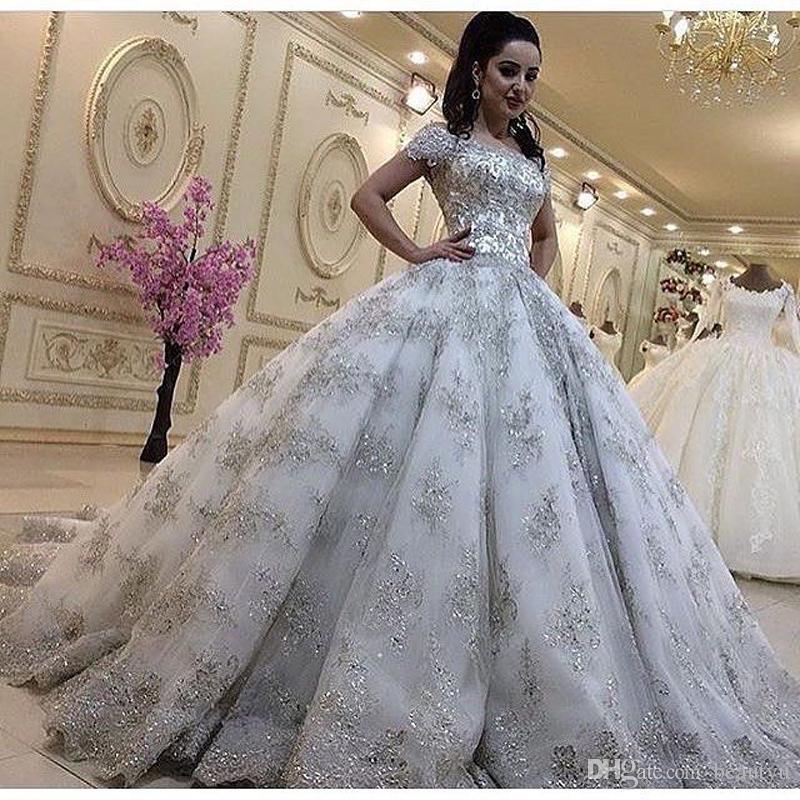 Princess Bling Crystal Bridal Ball Gown Shiny Long Sleeve Wedding Dresses Custom