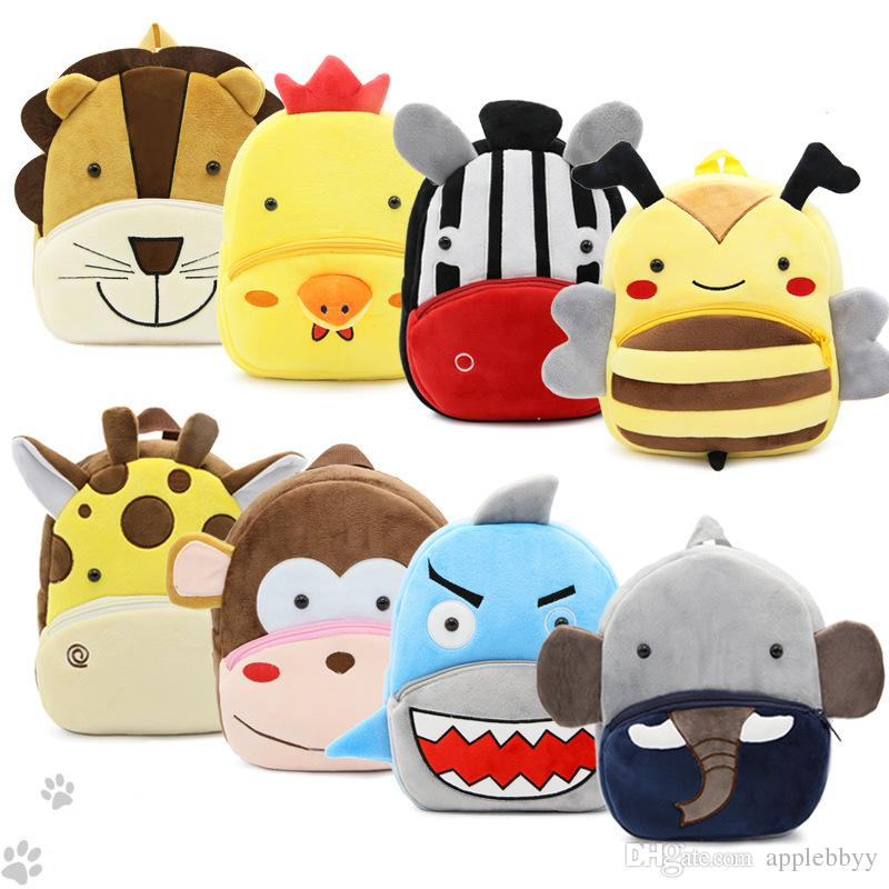Zoo series cute children's school bag burden shoulder bag plush backpack kindergarten teaching package 30 color free shipping