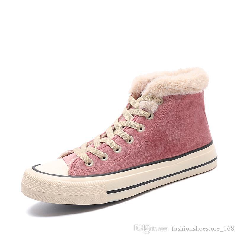 Chaussures d'hiver pour femmes Plate-forme de mode Baskets Style Tendance Femme Style Unicolore Court Peluche noir rose haut haut hiver baskets